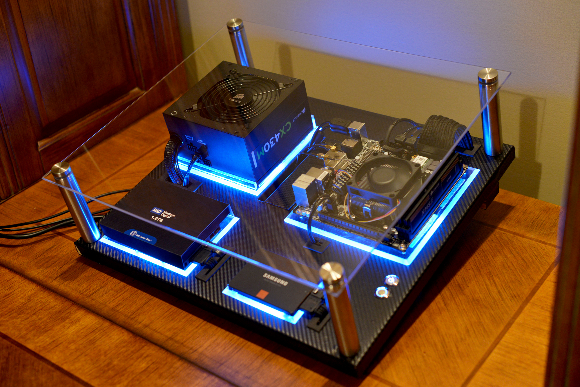 gallery of an awesome wall-mounted custom pc with beautiful liquid