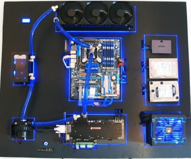 wall mounted custom computer with water cooling setup