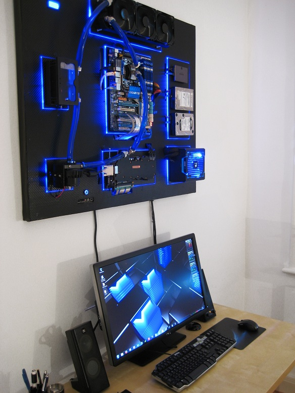 Gallery of an Awesome Wall-mounted Custom PC with Beautiful Liquid-cooling System